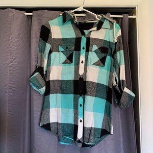 Women's Medium Hooded Flannel 3/4 Shirt